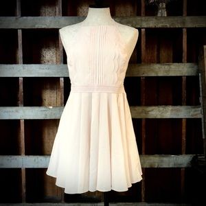Double Zero Pale Pink Halter Mini Dress with Bow